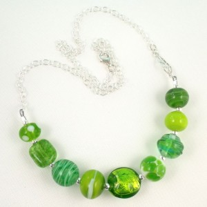 spring green mini strand necklace by sailorgirl jewelry