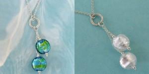jewel drop necklaces by sailorgirl jewelry